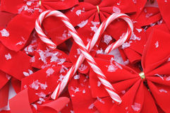 Candy Canes on Red Bows Stock Photography