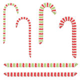 Candy Canes Set. Collection of tasty striped candy canes, Christmas sweets Royalty Free Stock Photo