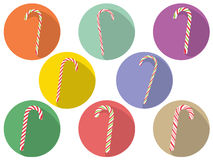 Candy Canes Set. Collection of tasty striped candy canes, Christmas sweets Stock Photography