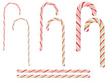 Candy Canes Set. Collection of tasty striped candy canes, Christmas sweets Stock Photo