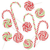 Candy Canes Set. Collection of tasty striped candy canes, Christmas sweets Royalty Free Stock Images