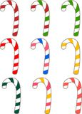 Candy Canes. Set of differently colored and flavored candy canes for Christmas Royalty Free Stock Image