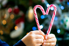Candy Canes in the Shape of the Heart Stock Image