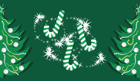 Candy canes and shining Christmas trees on the dar. K green background. Illustration Vector Illustration