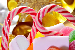 Candy canes and treats Royalty Free Stock Photos