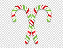 Candy Canes. Two candy canes on transparent background royalty free illustration
