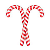 Candy Canes. Two candy canes on white backgrond Stock Illustration