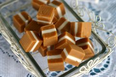 Candy Caramel Squares. In dish Royalty Free Stock Photos