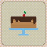 Candy card with a big chocolate cream cake Royalty Free Stock Image