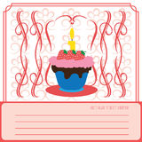 Candy card with a big colored cream cake with strawberries and seeds Royalty Free Stock Photo