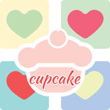 Candy card with a big fruit cream cake with cherry on top. Over colored background with hearts and cupcake text. Blue, yellow, red, pink and green. Digital Royalty Free Stock Images