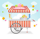 Candy Cart Market Card. Vector Stock Photos