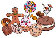 candy characters group cartoon illustration stock vector