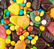 Candy and chocolates closeup stock photography