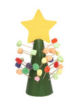 Candy Christmas Tree. A child's homemade Christmas tree made out of paper, gumdrops, and marshmallows stock photos