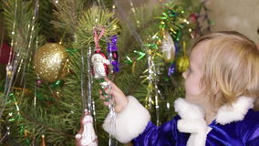 Candy Christmas tree and girl stock video footage