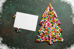 Candy christmas tree shape and greeting card Stock Image
