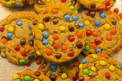 Candy Coated Chocolate Piece Cookies Stock Photos