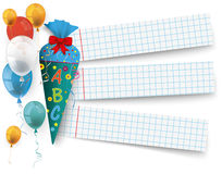 Candy Cole Checked Paper Balloons. Candy cole with 3 school paper banners royalty free illustration