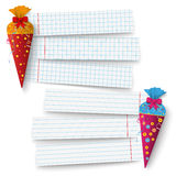 2 Candy Coles School Paper Banners. 2 candy coles with 3 school paper banners.  Eps 10 vector file Stock Photos