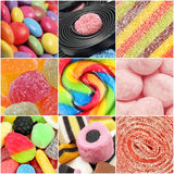 Candy Collage. Square collage made from close-up images of different candy shapes Royalty Free Stock Photography