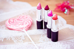 Candy color lipsticks Stock Photography