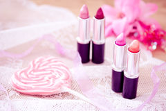 Candy color lipsticks Stock Photo