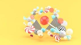 Candy among colorful balls on orange background royalty free illustration
