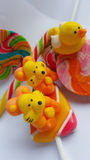 Candy colorful cartoon lollipop. Tigers and duck character made by sugar for sweet dessert on white background Stock Image