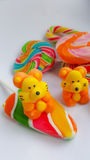 Candy colorful cartoon and lollipop. Tigers and duck character made by sugar for sweet dessert on white background Royalty Free Stock Image
