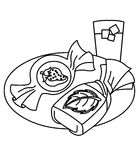 Candy coloring page. Hand drawn candy and foods coloring page for kids Royalty Free Stock Photography