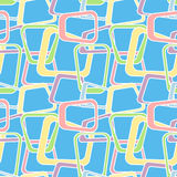 Candy colors. Seamless abstract pattern with geometric shapes, inspired by 60s stock illustration