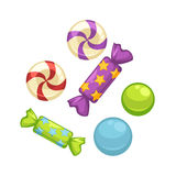 Candy comfits and caramel bonbons confectionery vector isolated flat icons Royalty Free Stock Photography