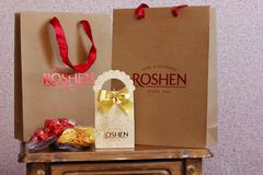 3 May 2017, Vinnitsa, Ukraine. Candies. Candy company `Roshen`. Gift. Packaging. For advertising stock photography
