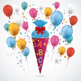 Candy Cone Balloons. Candy cone with ABC and balloons on the gray background Royalty Free Stock Image
