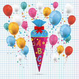 Candy Cone Balloons Checked Paper. Candy cone with ABC and balloons on the checked paper background Stock Photo