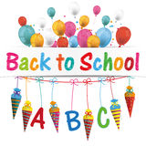 Candy Cones Banner Balloons Backt to school. Back to school flyer with balloons and candy cones stock illustration