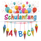 Candy Cones Banner Balloons Letters Schulanfang. German text Schulanfang, translate Back to School stock illustration
