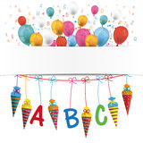 Candy Cones Banner Balloons Letters Schulanfang. Banner with balloons, letters, numbers and candy cones on the white vector illustration