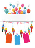 Candy Cones Banner Balloons Price Stickers. Checked paper banner, candy cones, price stickers and colored balloons vector illustration