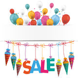 Candy Cones Banner Balloons Sale. Back to school flyer with balloons, candy cones and text SALE vector illustration