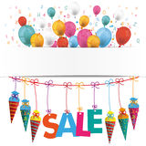Candy Cones Banner Balloons Sale Letters. Back to school flyer with balloons, candy cones and text SALE vector illustration