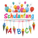 Candy Cones Banner Balloons Schulanfang. German text Schulanfang, translate Back to School royalty free illustration
