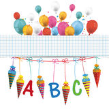 Candy Cones Checked Banner Balloons. Checked banner with balloons, candy cones and ABC letters stock illustration