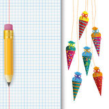 Candy Cones Checked School Paper Pencil Royalty Free Stock Image