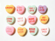 Candy conversation hearts. Valentine's Day candy hearts royalty free stock photo