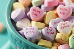 Candy Conversation Hearts for Valentine's Day Royalty Free Stock Photography
