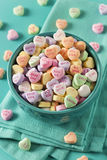 Candy Conversation Hearts for Valentine's Day. Colorful Candy Conversation Hearts for Valentine's Day stock image