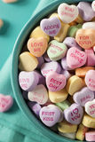 Candy Conversation Hearts for Valentine's Day. Colorful Candy Conversation Hearts for Valentine's Day stock photos