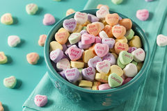Candy Conversation Hearts for Valentine's Day. Colorful Candy Conversation Hearts for Valentine's Day royalty free stock photo